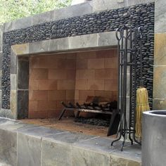 Landscape Outdoor Fireplace Design, Pictures