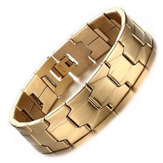 >> Click to Buy << Vintage Bracelets for Men Double Row Magnet Stainless Steel Chain Watchband Design Men Jewelry Gold-Color #Affiliate
