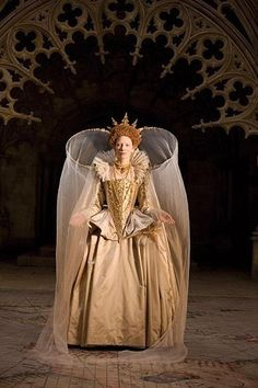 Cate Blanchett as Queen Elizabeth I Queen of England in Elizabeth, the Golden Age. The veil is not Elizabethan but the dress gives a good impression.
