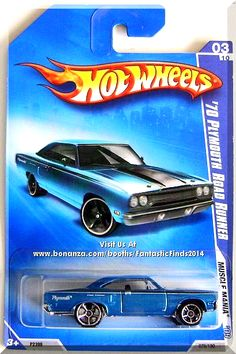 Mtlflk Blue, w/Black interior, Black & White stripes on sides & hood, White 'Plymouth' & Silver 'Road Runner' on sides, Chrome Malaysia Base, w/ChrOH5SP's. Only $7.49 with Free Shipping!