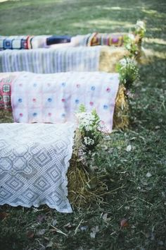 Hay Bales Rustic Country Wedding Seating and Wildflowers Aisle