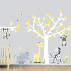 I just got this for my baby's room!!  Wild Animals, Yellow Gray Jungle Tree Wall Decals, Jungle Stickers by Bebe Bottle Sling, LLC, http://www.amazon.com/dp/B00BOVN8TY/ref=cm_sw_r_pi_dp_A4Rfsb0ZEHP9X