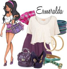 """""""Disney High: Esmeralda"""" by ❤ liked on Polyvo Disney Themed Outfits, Disney Bound Outfits, Disney Dresses, Disney Clothes, Nerd Fashion, Fandom Fashion, Fitness Fashion, Other Outfits, Cool Outfits"""