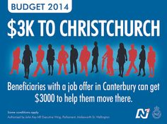 The Christchurch rebuild creates opportunities for beneficiaries outside Canterbury who want work.  https://www.national.org.nz/news/news/media-releases/detail/2014/05/06/budget-2014-$3k-to-christchurch-to-help-job-seekers