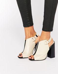 Daisy Street – Peeptoe-Sandalen mit Absatz und Fersenriemen