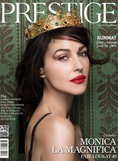 5 Reasons why Monica is our Queen - Queen Monica Bellucci wears Dolce&Gabbana crown and gold filigree corset on Prestige Hong Kong 2013