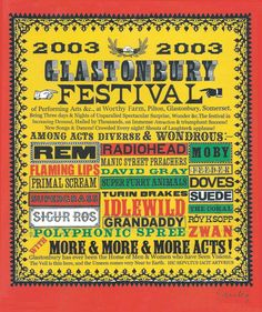 Glastonbury's festival posters are as individual as the fest itself - TypeRoom Festival Posters, Concert Posters, Art Festival, Music Posters, Music Flyer, Uk Music, Musikfestival Poster, Study Site, Primal Scream