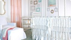 This light and airy #brattdecor nursery maximizes pure, soothing white space while creating excitement with pops of pink and tiffany blue. The iron Joy Crib in Distressed White is complimented by ivory rosettes from a lush satin crib bumper and baby bedding set. A luxury nursery like this is ideal for a girl nursery!