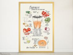 Recipe art print: illustrated recipe of spanish Gazpacho in English   Gazpacho is a cold soup that is very typical in Spain, specially in the south, where summers are very hot. It's a smooth mix of tomatoes, peppers, cucumber, onion and bread, seasoned with olive oil, salt and vinegar. It's refreshing and reminds me of summer!  This illustrated recipe has been drawn by me, Rosana Laiz from blursbyai.  Color: light cream, grays, colorful watercolor style illustrations (shown)  Language…