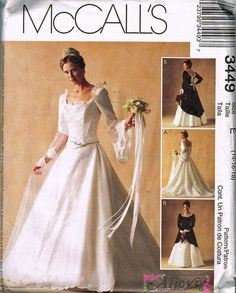 Bridal Wedding Dress Pattern McCall's 3449 14-18 Recent Vintage Uncut #McCall #BridalWedding