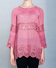 Pink Sheer Lace Tunic by V.O. Jeans #zulily #zulilyfinds