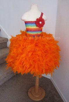 FLOWER GIRLS!!  Feather Dress - Feather Tutu Dress -  Clown Tutu Dress -  Tutu Dress - Rainbow tutu dress.