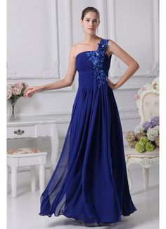 Hottest Style Chiffon One Shoulder A Line Royal Blue Prom Dress £107.19