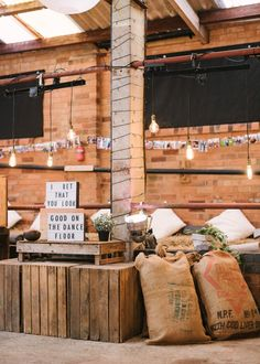 Rustic Wedding Decor | Light Box Signs - Hannah Duffy Photography | New Gen Films | Charlie Brear Peyton Dress & Augustine Skirt | DIY Rustic Wedding at Grove Barn Wedding Venue in the Vale of Belvoir | Dessy Group Bridesmaid Dresses
