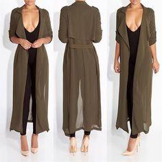 Stylish Women Chiffon Long Sleeve Long Cardigan Outwear Evening Party Coats
