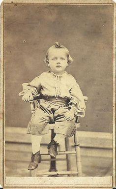 CDV Photo Handsome Little Boy Seated in Chiar Nice Top Curl Civil War Era