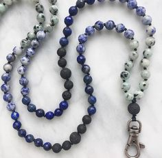 07868c6c985c Stormy Seas   Lapis Lazuli   Lanyard   Sodalite   Gemstone   Hand knotted    Aromatherapy   Essential Oil Diffuser