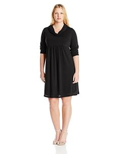 Three Seasons Maternity Womens Maternity 34 Sleeve Cowlneck Solid Dress Plus Black 1X >>> Want additional info? Click on the image. (This is an affiliate link and I receive a commission for the sales)