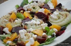 Gegrilde venkel salade met biet, geitenkaas en sinaasappel