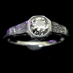 Old European Cut Diamond Platinum Engagement Ring by sohojewelers