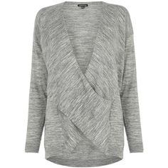 Warehouse Twist Drape Tunic , Grey (€50) ❤ liked on Polyvore featuring tops, tunics, grey, drapey top, long sleeve tops, grey top, wrap top and wrap tunic