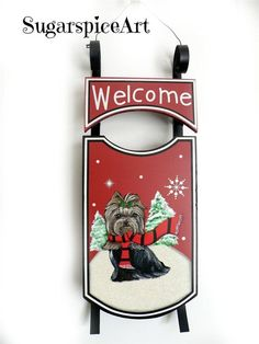 Yorkie Yorkshire Terrier Christmas Sled Decoration by SugarspiceArt