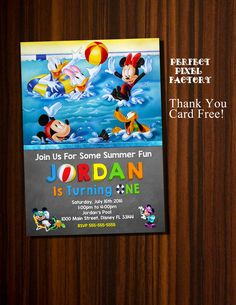Mickey Mouse Pool Party Birthday Invitation by PerfectPixelFactory