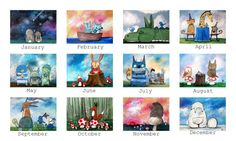 Whimsical Art Wall Calendar Art by Andrea Doss Kids by andralynn