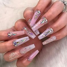Gorgeous Trend Stiletto Nails in 2019 Bling Acrylic Nails, Best Acrylic Nails, Acrylic Nail Designs, Stiletto Nails, Coffin Nails, Swarovski Nails, Crystal Nails, Rhinestone Nails, Dope Nails