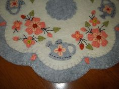 """Primitive Country """"Wool Flowers and Watering Cans"""" Candle Mat w/fs!"""