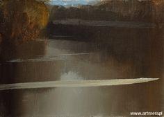 """Stanisław Baj oil on canvas, """"On the Bug"""" https://pl.wikipedia.org/wiki/Stanis%C5%82aw_Baj"""