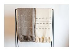 WOOL BLANKET HAND EMBROIDERED IN TRIANGLE AND LINE PATTERNS, DRUZI COLLECTION