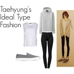 Taehyung's Ideal Type Outfit by kaisper on Polyvore featuring Isabel Marant, Uniqlo, Proenza Schouler, Converse, bts, taehyung and kpopinspired