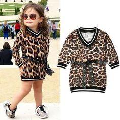 Leopard Print Autumn Dress for Kids Baby Girl Clothes Long Sleeve V-neck Party Sweatshirt Fashion Dress, Ropa de niña, Casual T Shirt Dress, Casual T Shirts, Girls Fall Outfits, Casual Outfits, Autumn Outfits, Leopard Dress, Outfit Sets, Street Wear, Spring Collection