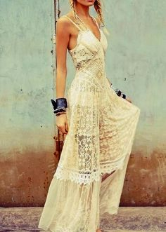 Boho full lace long dress