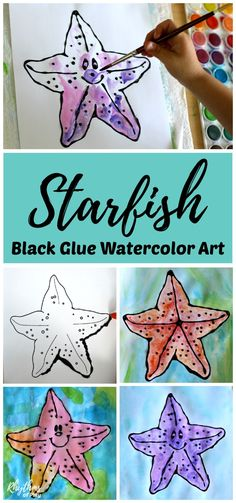 Outlining a starfish with black glue and painting it with watercolors is a fun and easy art project. A gorgeous under the sea ocean painting idea for kids, teens, and adults. Includes a FREE printable that is blank in the middle so the artist can decide