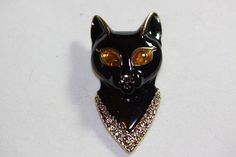 "SIGNED VINTAGE ""AJC"" ENAMEL BLACK CAT WITH YELLOW JEWEL EYES BROOCH PIN #AJC"