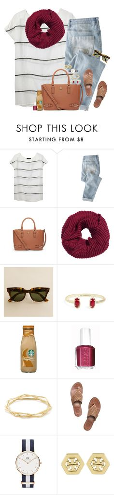 """evelyn!!!"" by gourney ❤ liked on Polyvore featuring Thakoon, Wrap, Tory Burch, H&M, J.Crew, Kendra Scott, Essie, Daniel Wellington, women's clothing and women"