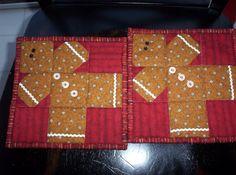 Gingerbread men quilt square