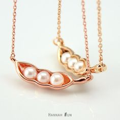 Gold Pea Pod Necklace Very cute JewelryPearl Pendant by HannahRun