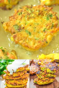 These Vegetable Fritters are truly the best! Made with zucchini, carrot, and corn, they make a great lunch or snack, and y… [Video] in 2019 Baby Food Recipes, Diet Recipes, Cooking Recipes, Curry Recipes, Tasty Vegetarian Recipes, Healthy Recipes, Easy Recipes, Vegetable Dishes, Vegetable Recipes