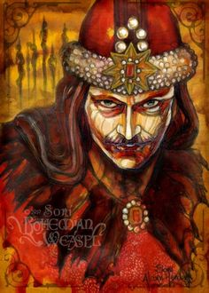 Vlad Tepes (Dracula, Vlad the Impaler, Romanian Prince and forefather of so many vampire legends). Original art for a horror trading card set. (Mixed media, 6 x 8 inches on paper).  By Bohemian Weasel aka Soni Alcorn-Hender. #BohemianWeasel