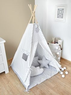 chevron grey black blue kids teepee tent wigwam with a padded play mat ideas pinterest. Black Bedroom Furniture Sets. Home Design Ideas
