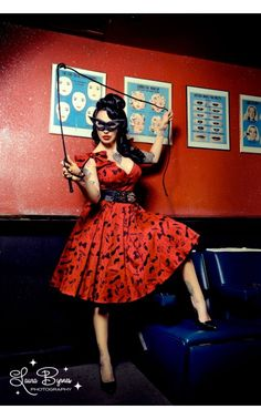 Deadly Dames- Tie Me Up Dress in Red and Black Fetish Print | Pinup Girl Clothing