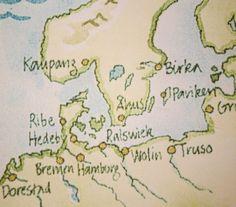 Byer: De fire viktigste vikingbyene i Skandinavia er Kaupang, Birka (Sverige), Hedeby og Ribe (begge Danmark).