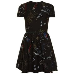 Valentino Astrocouture round-neck crepe mini dress ($4,390) ❤ liked on Polyvore featuring dresses, valentino, vestidos, black multi, metallic cocktail dress, short cocktail dresses, metallic dress, holiday dresses and special occasion dresses