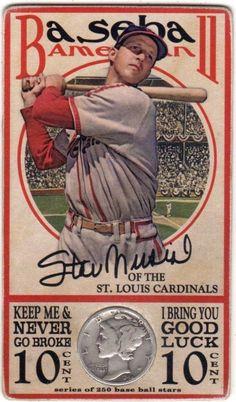 Stan Musial Baseball American Never Go Broke Dubble Bubble Art Card w/1944 Dime
