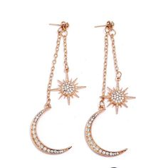 E20  Long Gold Tone Clear Crystal Sun and Moon Dangle Stud Earrings