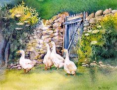 Ann Brockley   WATERCOLOR Watercolor Bird, Watercolor Animals, Watercolor Landscape, Watercolor Paintings, Watercolours, Barnyard Animals, Animal Sketches, Art For Art Sake, Art Themes