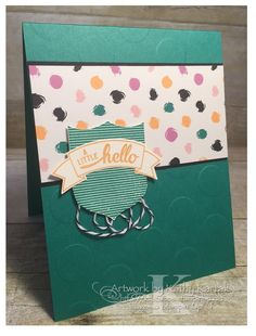 "Faithful INKspirations A Little Hello is made with Stampin' Up's ""Banners & Badges"" stamp set."